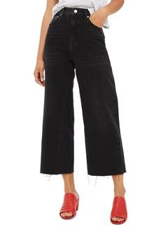 Topshop Crop Wide Leg Jeans (Washed Black)