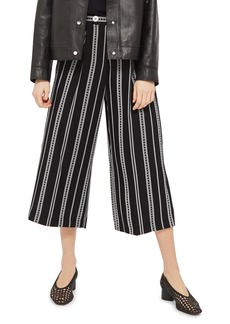 Topshop Crop Wide Leg Stripe Trousers