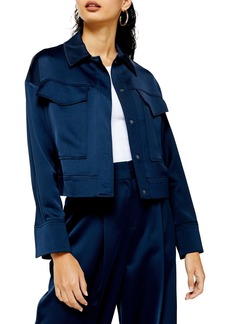 Topshop Cropped Satin Utility Jacket