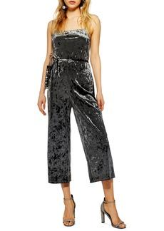Topshop Cropped Velvet Jumpsuit