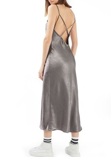 Topshop Cross Strap Metallic Maxi Slipdress