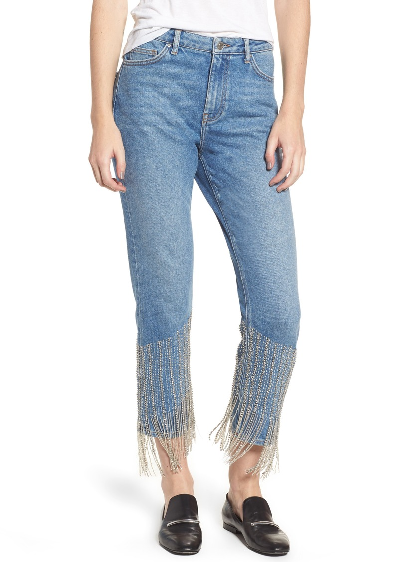elegant in style buying now shop for genuine Topshop Topshop Crystal Embellished Moto Jeans Now $119.99