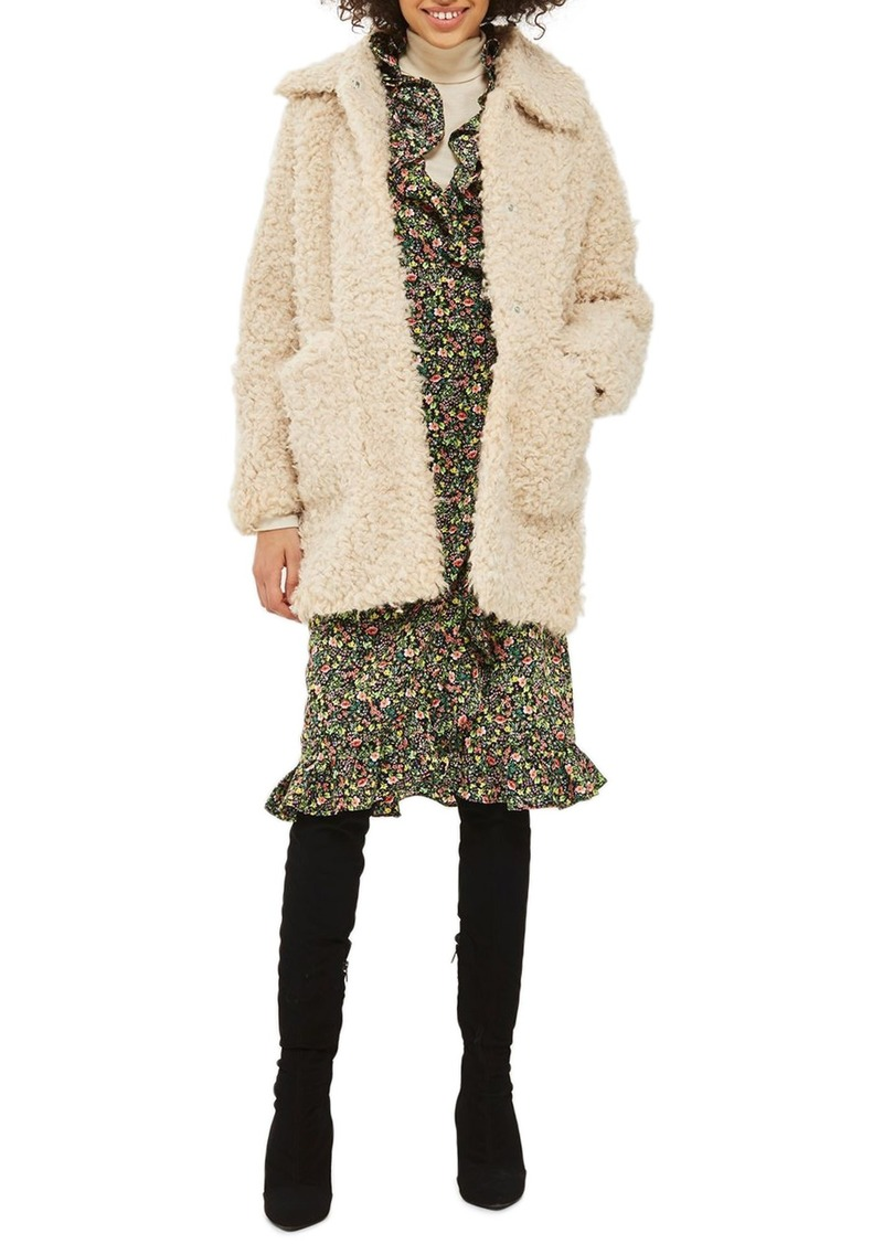 Sale Topshop Topshop Curly Faux Fur Coat