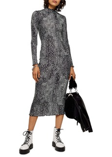 Topshop Cut And Sew Animal Print Long Sleeve Midi Dress