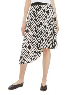 Topshop Cut Stripe Asymmetrical Skirt