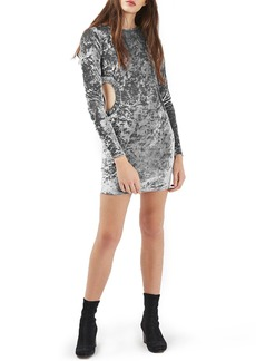 Topshop Cutout Crushed Velvet Dress