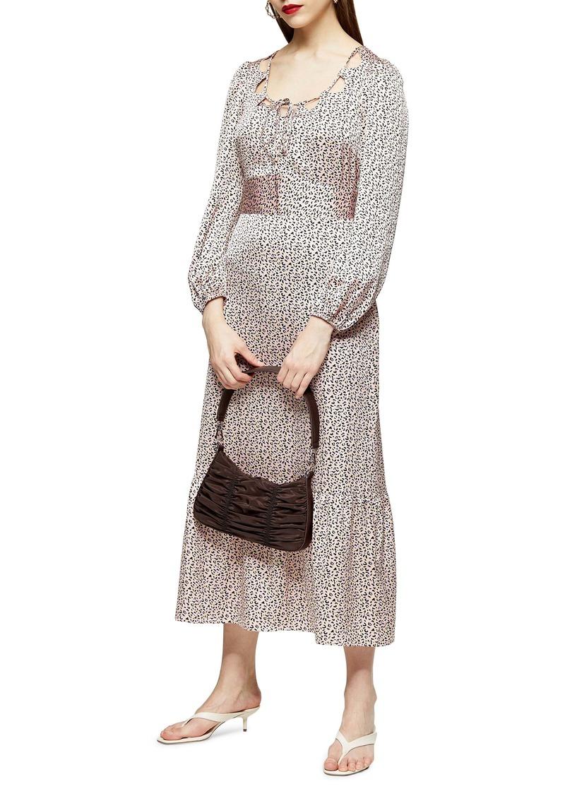 Topshop Cutout Neck Long Sleeve Midi Dress