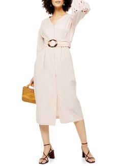 Topshop Cutwork Long Sleeve Midi Dress