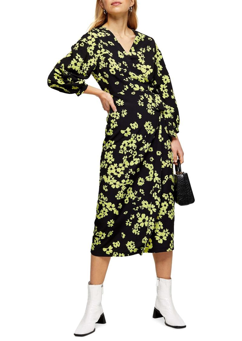 Topshop Daisy Drama Wrap Midi Dress