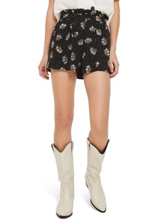 Topshop Daisy Print Frill Waist Shorts