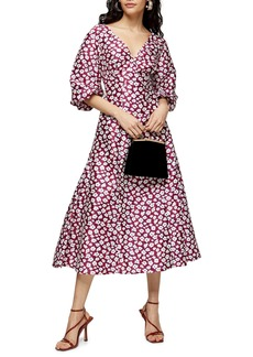 Topshop Daisy Print Puff Midi Dress