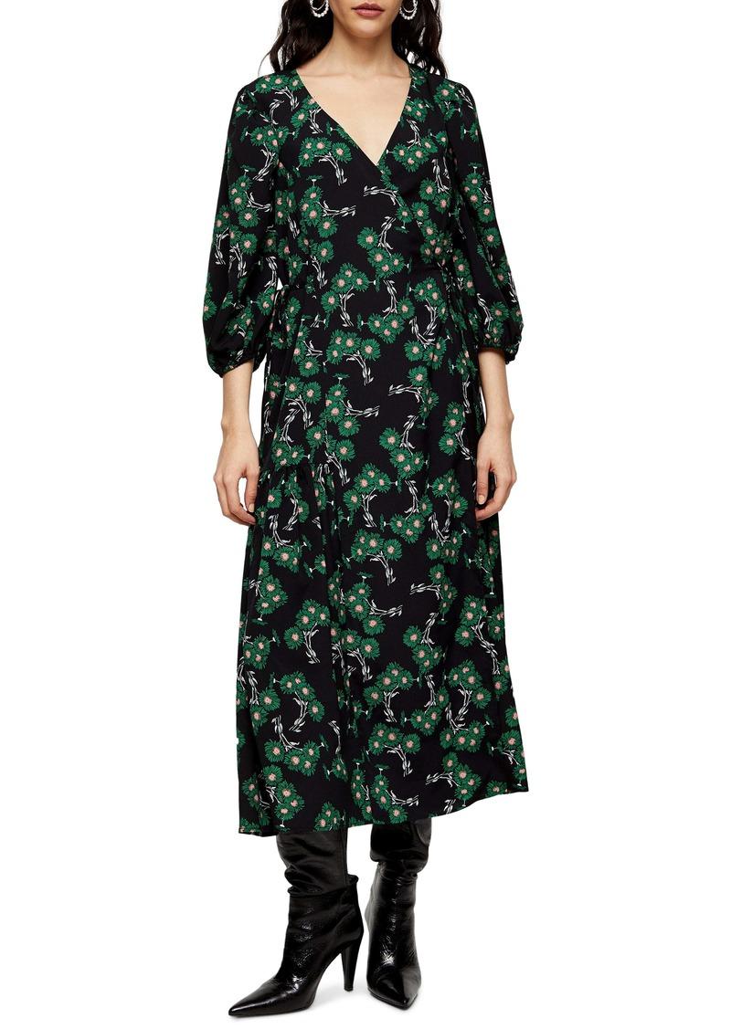 Topshop Daisy Wrap Midi Dress