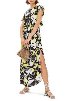 Topshop Deconstructed Floral Print Maxi Dress