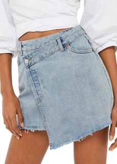 Topshop Deconstructed Wrap Denim Skirt
