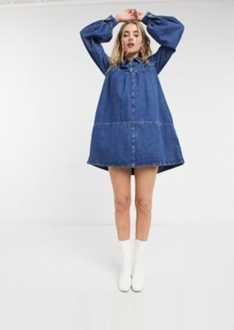 Topshop denim baby-doll mini dress in mid wash blue