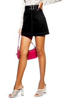 Topshop Denim Buckle Wrap Skirt