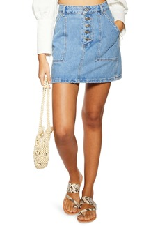 Topshop Denim Button Miniskirt (Regular & Petite)