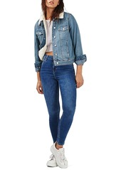 Topshop Denim Jacket with Faux Shearling Lining