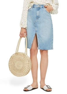 Topshop Denim Midi Skirt