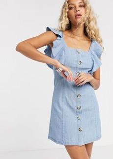 Topshop denim ruffle mini dress in mid wash