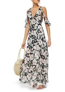Topshop Devoré Floral Cold Shoulder Dress