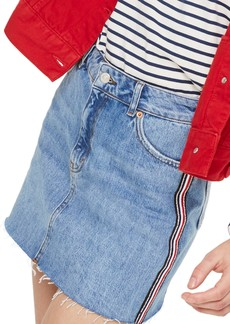 Topshop Diamante Stripe Denim Skirt