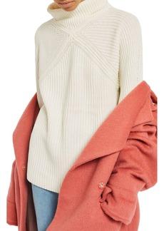 Topshop Diamond Stitch Turtleneck Sweater