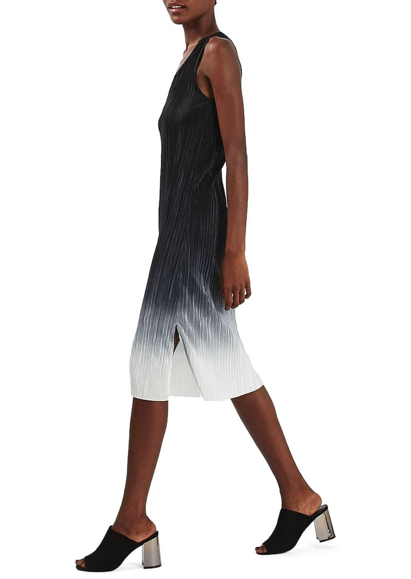 Topshop Dip Dye Plissé Midi Dress