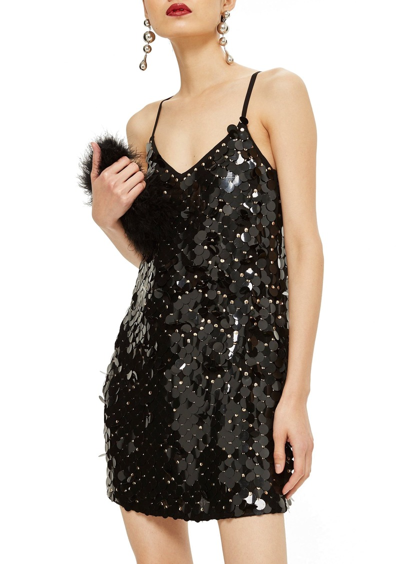 Topshop Disc Sequin Slipdress
