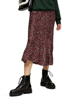 Topshop Ditsy Floral Flounce Midi Skirt