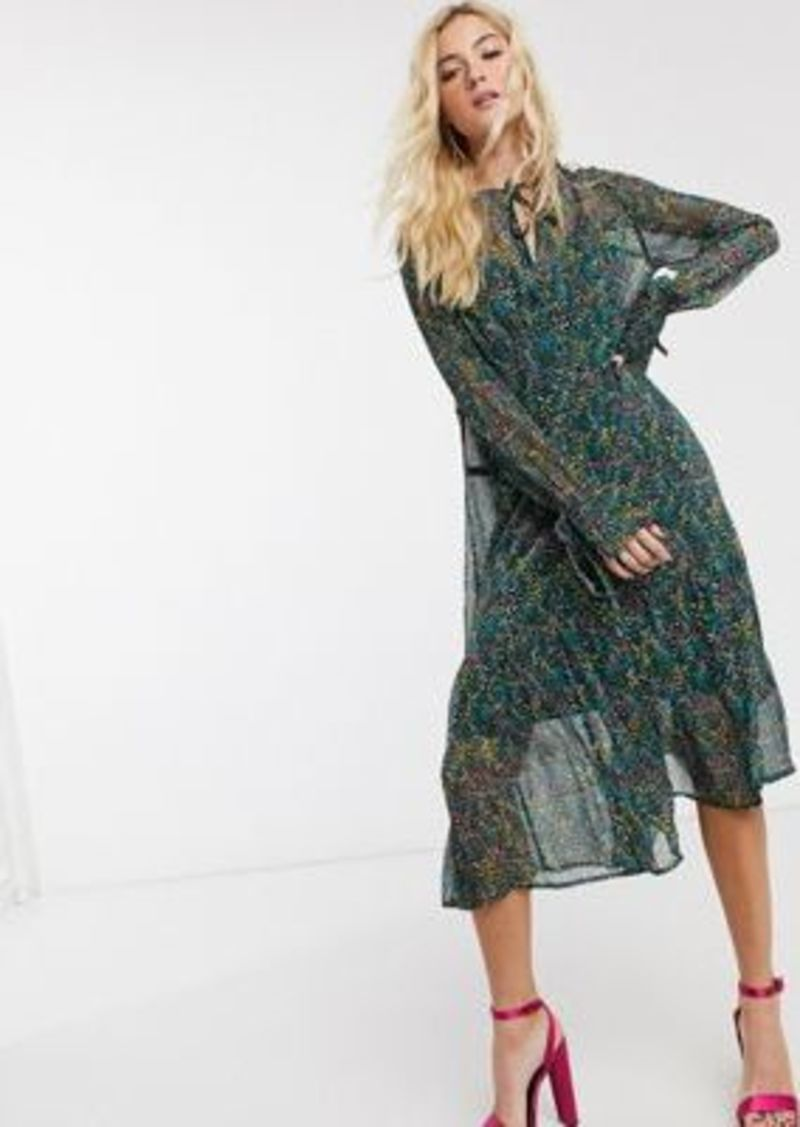 Topshop ditsy floral midi dress in multi