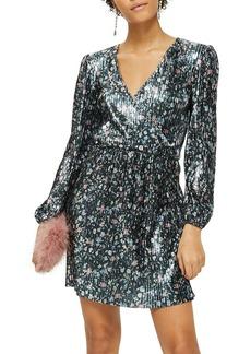 Topshop Ditsy Foil Plissé Dress