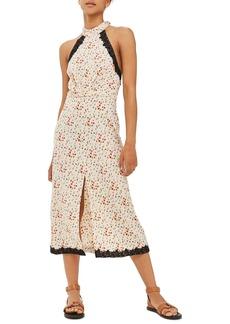Topshop Ditsy Lace Halter Midi Dress