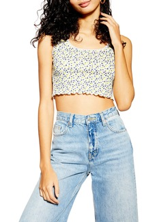 Topshop Ditsy Picot Cropped Tank Top