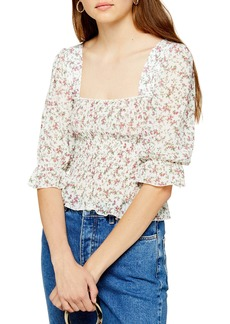 Topshop Ditsy Smocked Blouse