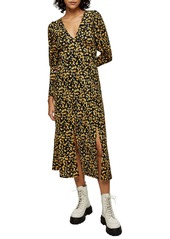 Topshop Ditsy V-Neck Textured Long Sleeve Midi Dress