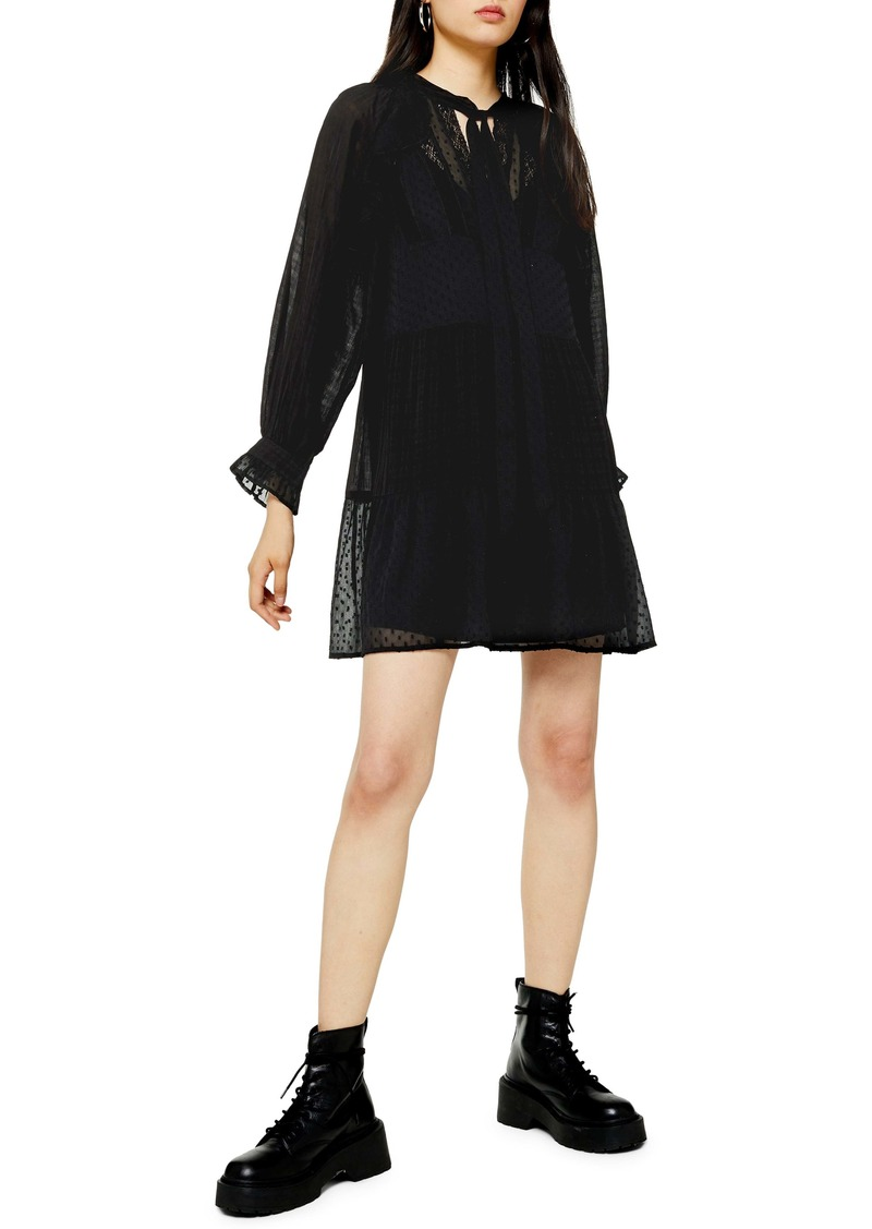 Topshop Dobby Long Sleeve Shift Dress