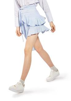 Topshop Dobby Stripe Ruffle Skirt