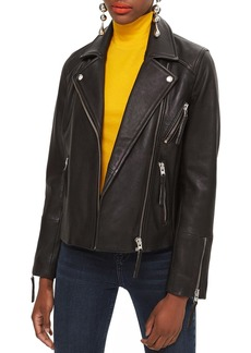 Topshop Dolly Leather Biker Jacket (Regular & Petite)