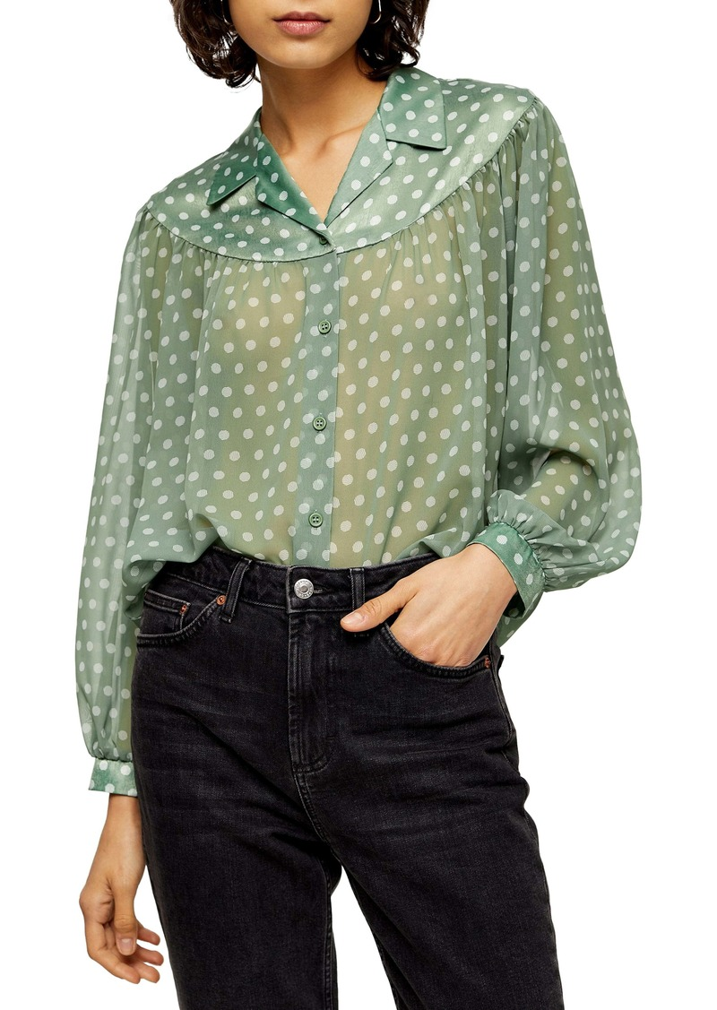 Topshop Dot Sheer Balloon Sleeve Blouse