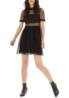 Topshop Dot Tulle Skater Dress