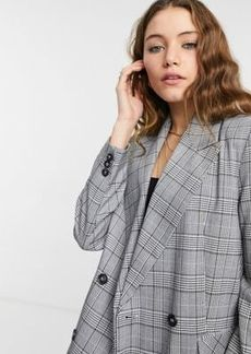 Topshop double breasted blazer in monochrome