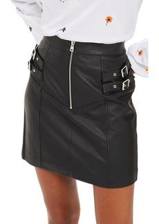 Topshop Double Buckle Faux Leather Miniskirt