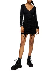Topshop Double Ruched Slinky Long Sleeve Minidress