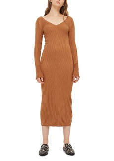 Topshop Double V-Neck Ribbed Midi Dress