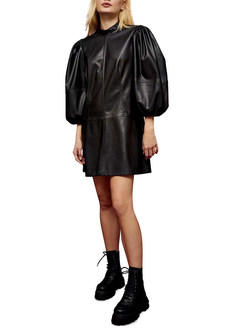 Topshop Drama Sleeve Faux Leather Dress