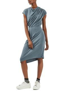 Topshop Drape Belted Midi Dress