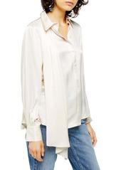 Topshop Drape Button Front Blouse