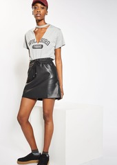Topshop Drawstring Faux Leather Skirt