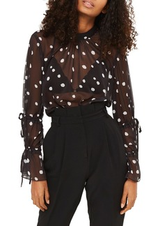 Topshop Drawstring Sleeve Sheer Dot Blouse